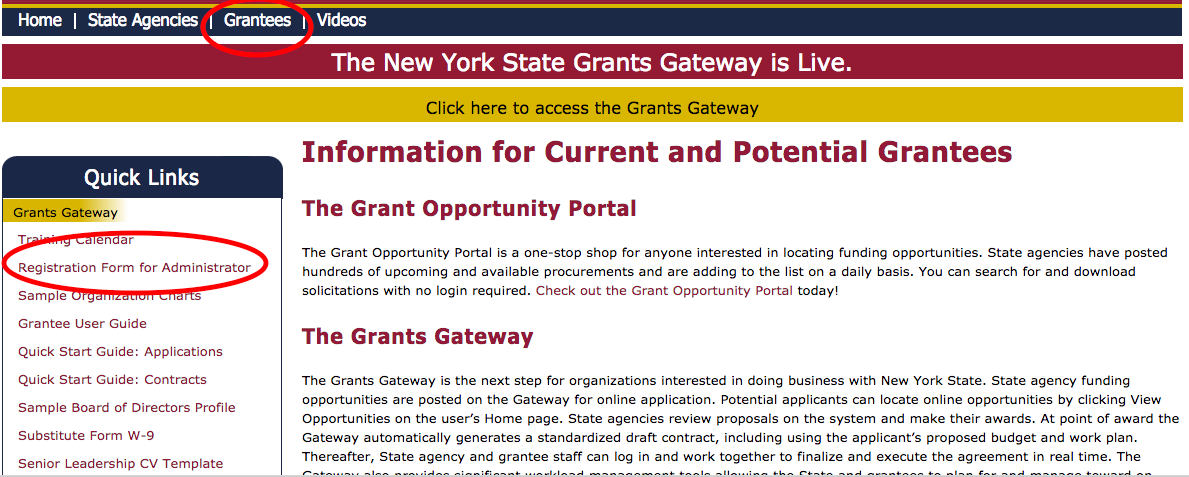 Create Grants Gateway Account Screenshot