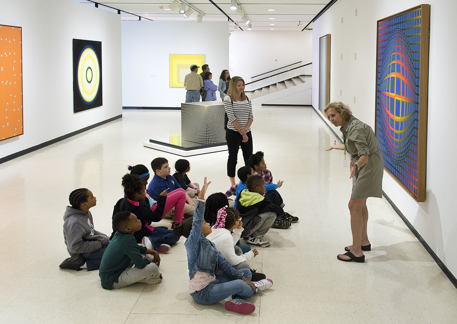 Students learn about paintings at the Albright-Knox Art Gallery