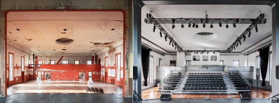 Before and after renovation of Hudson Hall