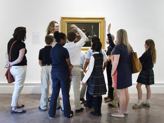 Albright-Knox Art Gallery visitors view a painting