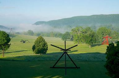 View of the South Fields, all works by Mark di Suvero. Mon Père, Mon Père, 1973-75, Gift the Ralph E. Ogden Foundation. She, 1977-1978, courtesy of the artist and Spacetime C.C., New York. Pyramidian, 1987/1998, Gift of the Ralph E. Ogden Foundation. © Mark di Suvero, courtesy of the artist and Spacetime C.C., New York. Photo by Jerry L. Thompson.